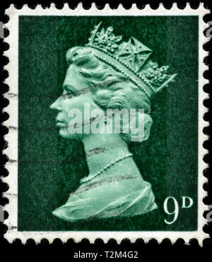 Postage stamp from the United Kingdom and Northern Ireland in the Queen Elizabeth II - Predecimal Machin series issued in 1967 - Stock Photo