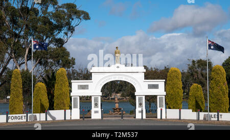War memorial park at Murtoa, Wimmera region, Victoria, Australia. The imposing park entrance belies the dwindling population of the present-day town. - Stock Photo