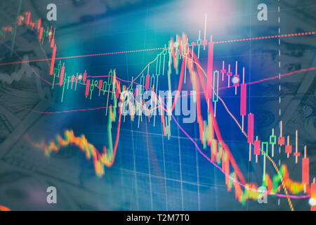 Forex market background, trading on the currency market Forex. Currency exchange rate for world currency: US Dollar, Euro, - Stock Photo