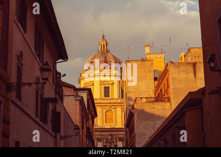 Old street in ancient Rome, Italy.  Architecture and landmark concept. Travel background. - Stock Photo