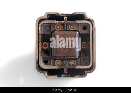 Antique switch on off bakelite back, isolated on white background, close-up - Stock Photo