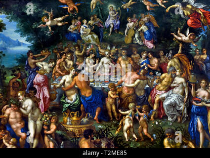 The Nuptials of Thetis and Peleus or The Feast of the Gods ( Metamorphoses by the Latin poet Ovid 1st Century AD ) by Hendrick De Clerck 1570-1629,  Belgian, Belgium, Flemish. - Stock Photo