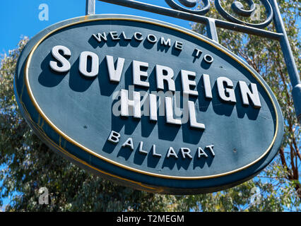 Sign outside Sovereign Hill, an open air museum in the old gold mining town of Ballarat, Victoria, Australia - Stock Photo