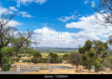 View over the Barossa Valley wine growing region from Mengler Hill Lookout, Bethany, South Australia, Australia - Stock Photo
