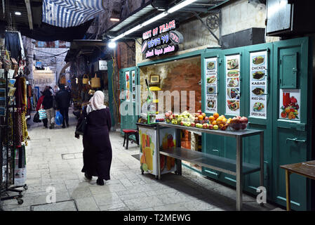 Arabic restaurant 'City of Peace' in the walled Old City of Jerusalem. - Stock Photo