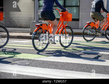 Together with friends for walk on bicycles to sweat practicing in fast cycling relax at wheel of a bicycle to talk combining business with pleasure le - Stock Photo