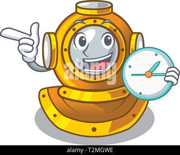 With clock helmet diving isolated in the cartoon vector illustration - Stock Photo