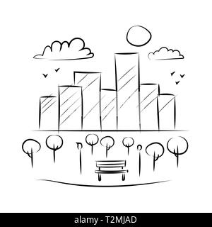 Park and building black white bench lamp landscape sketch. - Stock Photo