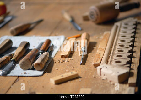 Details of Carpenter tools on wooden table - Stock Photo