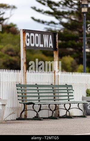 A bench seat at goolwa train station on the fleurieu peninsula goolwa south australia on 3rd April 2019 - Stock Photo
