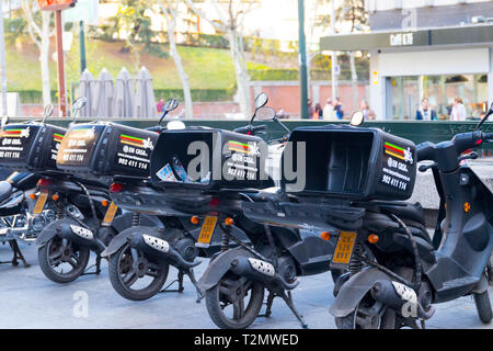 Burger King Delivery scooter service in Madrid Spain - Stock Photo