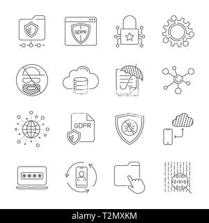 GDPR and Privacy Policy, Digital Protection, Security Technology, simple icons set. Editable Stroke. EPS 10 - Stock Photo