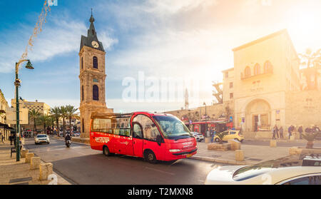 Tel Aviv, Israel - March 28, 2019: Central square with Clock Tower on Yefet street in the old Jaffa - Stock Photo