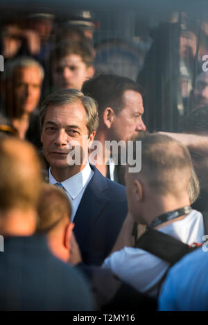 Nigel Farage, before he takes to the stage at the Leave Means Leave rally in Parliament Square, London on March 29th 2019 - Stock Photo