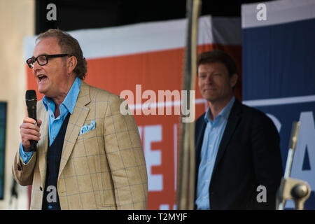 Leave Means Leave co-founder John Longworth along with Richard Tice in the background. March 29th 2019 The day the Britain was meant to leave the EU.  - Stock Photo