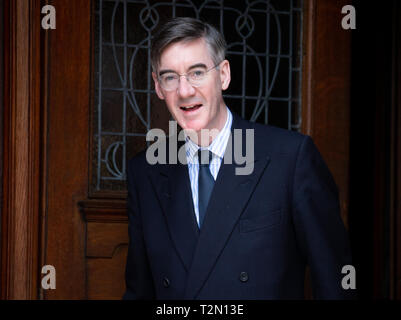 London, UK. 03rd Apr, 2019. Chairman of the ERG and Arch-Leave Campaigner, Jacob Rees-Mogg, leaves his home in Westminster Credit: Tommy London/Alamy Live News - Stock Photo