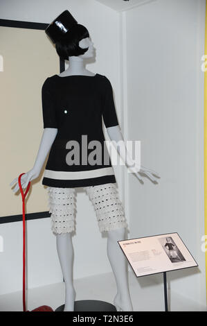 London, UK. 3rd Apr, 2019. Fashion items designed by Mary Quant seen displayed at the Mary Quant Exhibition at the V&A Museum in London. Credit: Terry Scott/SOPA Images/ZUMA Wire/Alamy Live News - Stock Photo
