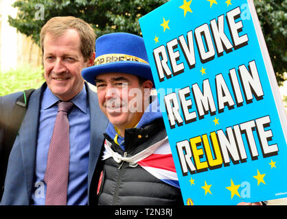 Westminster, London, UK. 3rd Apr 2019. College Green, Westminster, after Prime Minister's Questions in Parliament. Alastair Campbell and Steve Bray, anti-Brexit campaigner Credit: PjrFoto/Alamy Live News - Stock Photo
