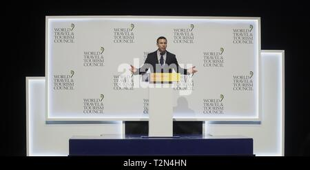 Commissioner of U.S. Customs and Border Protection, Kevin McAleenan, delivers his speech during the World Travel and Tourism Council (WTTC) conference held in Seville, Spain, 03 April 2019. More than 180 countries and over 1,500 business leader will be gathering to attend the 19th edition of the WTTC conference with former US president Barack Obama as honor guest. EFE/ Jose Manuel Vidal - Stock Photo