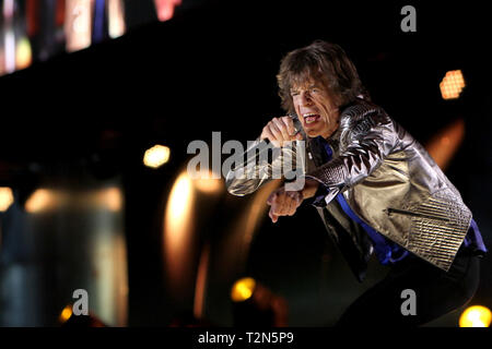 """April 3, 2019 - Lisbon, Portugal - London, April 3, 2019 - The Rolling Stones frontman Mick Jagger will undergo surgery this week in New York to replace a heart valve, with the band postponing the North American leg of Ã'No FilterÃ"""" tour as a result. FILE Image - Mick Jagger performs during the Rock in Rio Lisbon 2014 music festival, in Lisbon, Portugal on May 29, 2014. (Credit Image: © Pedro Fiuza/ZUMA Wire) - Stock Photo"""