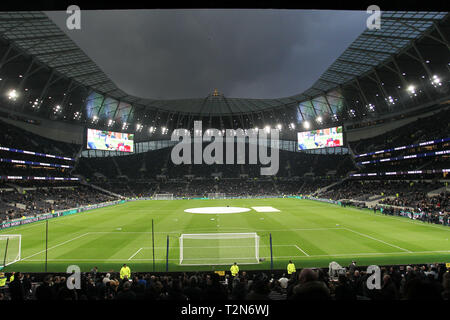 London, UK. 3rd Apr, 2019. Tottenham Hotspur Stadium, London, UK. 3rd Apr 2019. General View during the Premier League match between Tottenham Hotspur and Crystal Palace at Tottenham Hotspur Stadium on April 3rd 2019 in London, England. (Photo by Paul Raffety/phcimages.com) Credit: PHC Images/Alamy Live News - Stock Photo