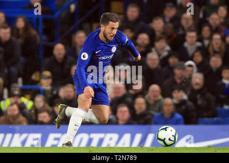 London, UK. 3rd Apr, 2019. Eden Hazard of Chelsea in action. Premier League match, Chelsea v Brighton & Hove Albion at Stamford Bridge in London on Wednesday 3rd April 2019. this image may only be used for Editorial purposes. Editorial use only, license required for commercial use. No use in betting, games or a single club/league/player publications. pic by Steffan Bowen/ Credit: Andrew Orchard sports photography/Alamy Live News - Stock Photo