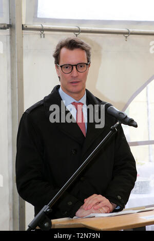 Hagen, Germany. 3rd Apr, 2019. Greetings to the groundbreaking ceremony for the replacement of the valley bridges Kattenohl and Brunsbecke from HENDRIK WUEST Minister of Transport of North Rhine-Westphalia Credit: Maik Boenisch/ZUMA Wire/Alamy Live News - Stock Photo