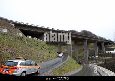 Hagen, Germany. 3rd Apr, 2019. The two-part valley bridge Kattenohl will be demolished and rebuilt in the next few years Credit: Maik Boenisch/ZUMA Wire/Alamy Live News - Stock Photo
