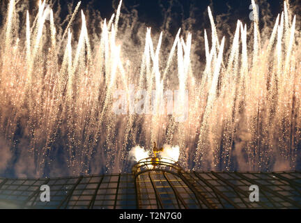 London, UK. 03rd Apr, 2019. Fireworks during English Premier League between Tottenham Hotspur and Crystal Palace at Tottenham Hotspur Stadium, London, UK on 03 Apr 2019 Credit: Action Foto Sport/Alamy Live News - Stock Photo