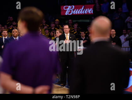 April 02, 2019: Wichita State Shockers head coach Gregg Marshall stands for the national anthem at the semi-final of the NIT Tournament game between The Wichita State Shockers and The Lipscomb Bisons at Madison Square Garden, New York, New York. Mandatory credit: Kostas Lymperopoulos/CSM - Stock Photo