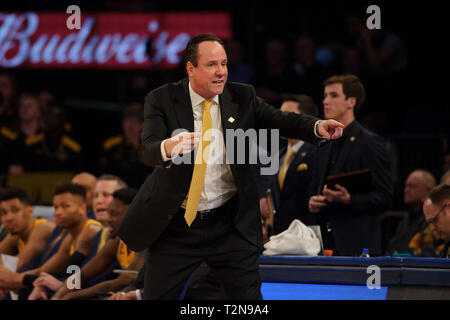 April 02, 2019: Wichita State Shockers head coach Gregg Marshall reacts at the semi-final of the NIT Tournament game between The Wichita State Shockers and The Lipscomb Bisons at Madison Square Garden, New York, New York. The Lipscomb Bisons defeat The Wichita State Shockers 71-64. Mandatory credit: Kostas Lymperopoulos/CSM - Stock Photo