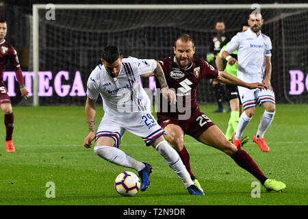 Turin, Italy. 03rd Apr, 2019. Nicola Murru (UC Sampdoria) during the Serie A TIM football match between Torino FC and UC Sampdoria at Stadio Grande Torino on 3th April, 2019 in Turin, Italy. Credit: FABIO PETROSINO/Alamy Live News - Stock Photo