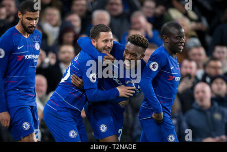 London, UK. 03rd Apr, 2019. during the Premier League match between Chelsea and Brighton and Hove Albion at Stamford Bridge, London, England on 3 April 2019. Photo by Andy Rowland. Credit: Andrew Rowland/Alamy Live News - Stock Photo