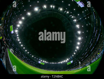 London, UK. 3rd Apr, 2019. Photo taken on April 3, 2019 shows the interior of the Tottenham Hotspur Stadium during the Premier League match between Tottenham Hotspur and Crystal Palace in London, Britain. Tottenham Hotspur won 2-0. Credit: Han Yan/Xinhua/Alamy Live News - Stock Photo