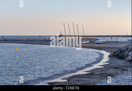 coastal scenery at Saintes-Maries-de-la-Mer, the capital of the camargue in the south of France - Stock Photo