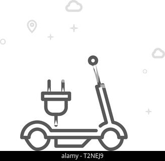 Electric Scooter Vector Line Icon. City Urban Transport Symbol, Pictogram, Sign. Light Abstract Geometric Background. Editable Stroke.