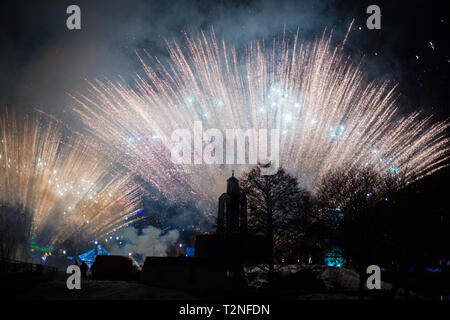 Minsk, Belarus -January 1, 2019: Explosive and colorful holiday