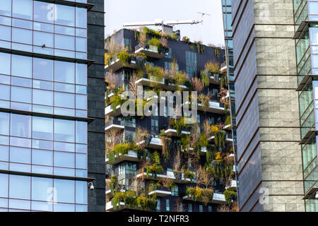 Bosco Verticale, vertical forest apartment buildings in Porta Nuova financial district area of the city of Milan, Italy - Stock Photo
