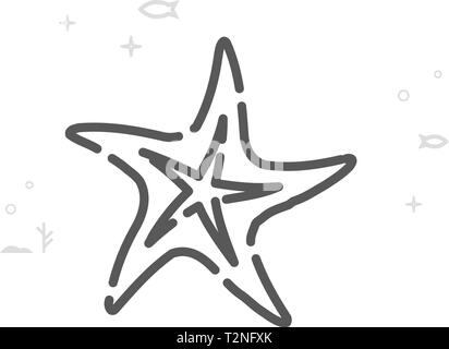 Starfish Vector Line Icon. Marine Life, Sea Creatures Symbol, Pictogram, Sign. Light Abstract Geometric Background. Editable Stroke. - Stock Photo