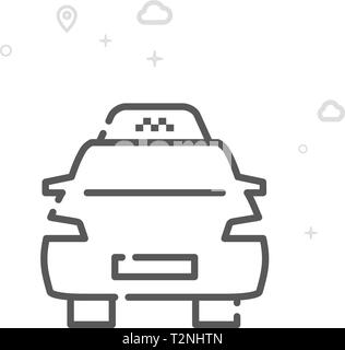 Taxi Vector Line Icon. City Urban Transport Symbol, Pictogram, Sign. Light Abstract Geometric Background. Editable Stroke. Adjust Line Weight. - Stock Photo