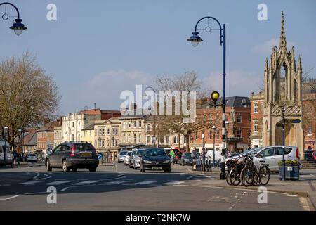 Devizes, Wiltshire, England, UK. March 2019. Main street through this old English market town. - Stock Photo