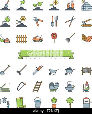 Collection of gardening decoration, equipment and plants color filled line icons vector illustration - Stock Photo