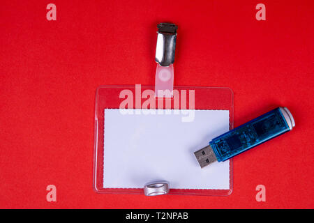 Name card to clip with a USB stick - Stock Photo