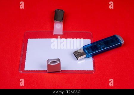 Name card to clip with a USB stick