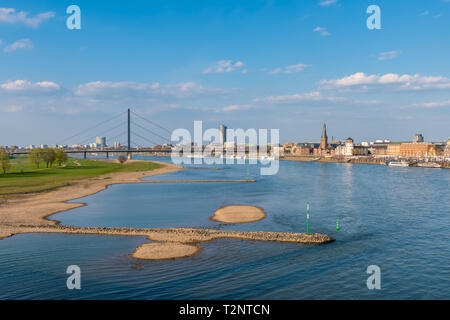 Düsseldorf and Rhine River in Germany on Spring Day - Stock Photo