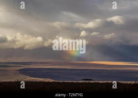 Landscape with storm clouds and rainbow light beams, Ngorongoro Crater, Ngorongoro Conservation Area, Tanzania - Stock Photo