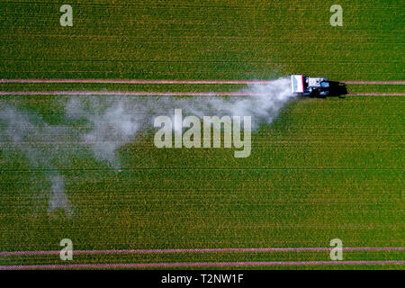 Aerial image of tractor spraying pesticides on green oat field shoot from drone - Stock Photo