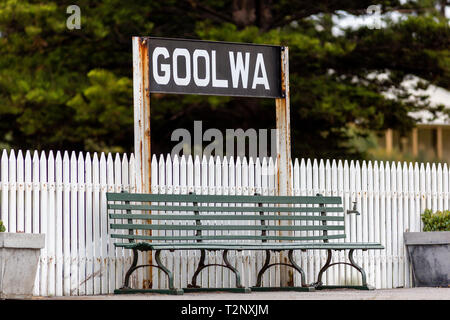 A bench seat at goolwa train station on the fleurieu peninsula goolwa south australia on 3rd April 2019 - Stock Photo