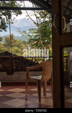 A view of the mountains around Dharamsala, from a house in the jungle. - Stock Photo
