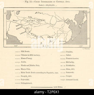 Chief Itineraries of Central Asia. Silk route. Explorers trade. Sketch map 1885 - Stock Photo